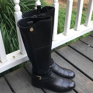 Cole Haan Galina Black Leather Riding Boots